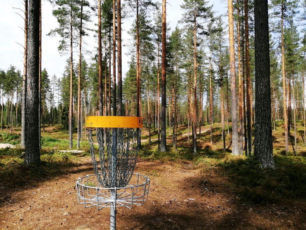 Frisbeegolfia metsäradalla